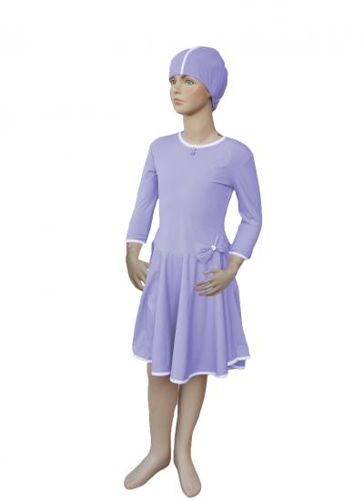 Lavender front modest swim dress