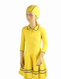 fRont- yellow polo modest swim dress for girls