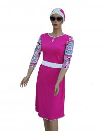 Fuchsia pearl-  front modest swimdress