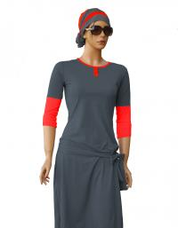 Front-eden rock modest swimdress grey and coral