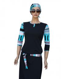 Front- turquoise splash modest swimdress